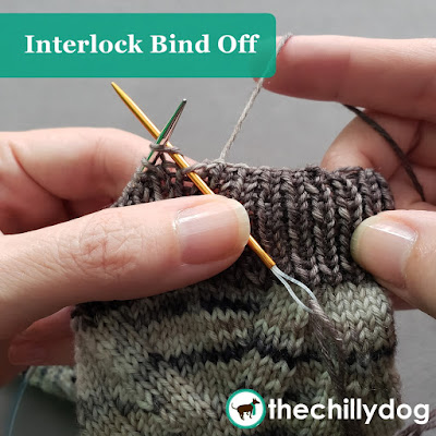 Knitting video tutorial: Interlock bind off for 1 x 1 ribbing in the round