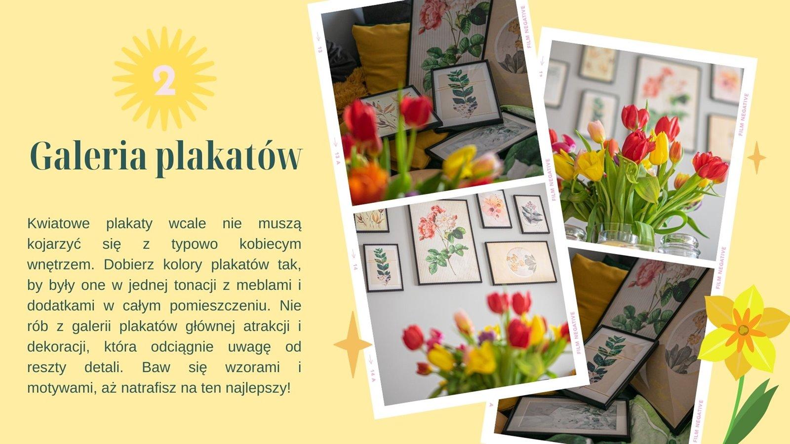 3 galeria plakatów bimago kod znizkowy jak zaprojektowac galerie plakatow na sciane w kwiatowym motywie na wiosne do pokoju dziewczynki do salonu inspiracje pomysły