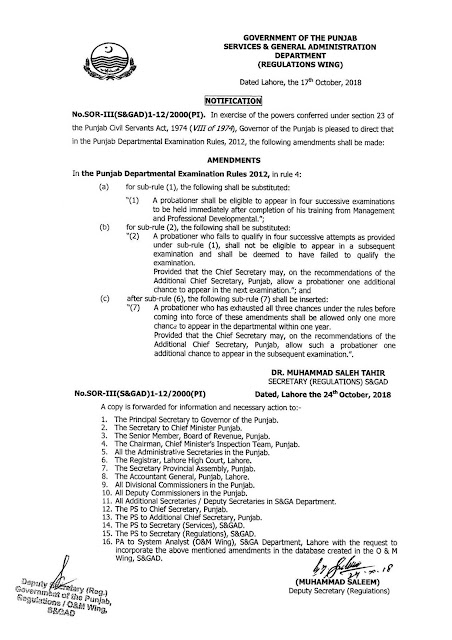 AMENDMENT IN THE PUNJAB DEPARTMENTAL EXAMINATION RULES