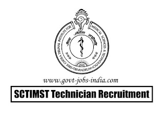 SCTIMST Technician Recruitment 2020