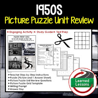 American History Picture Puzzles are great for TEST PREP, UNIT REVIEWS, TEST REVIEWS, and STUDY GUIDES, 1950s