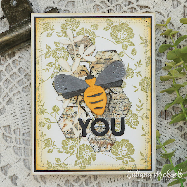 Bee You Card by Juliana Michaels featuring Tim Holtz Funky Insects Thinlits