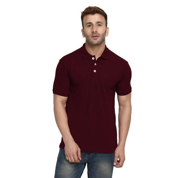CHKOKKO Cotton Polo Neck Half Sleeves Plain T Shirts for Mens