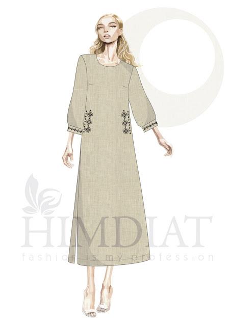 Платье женское. Модель PL-391/ Авторская коллекция женской одежды Nadia Himdiat. Платье в этническом стиле из льна с вышивкой.  Сезон: осень-зима