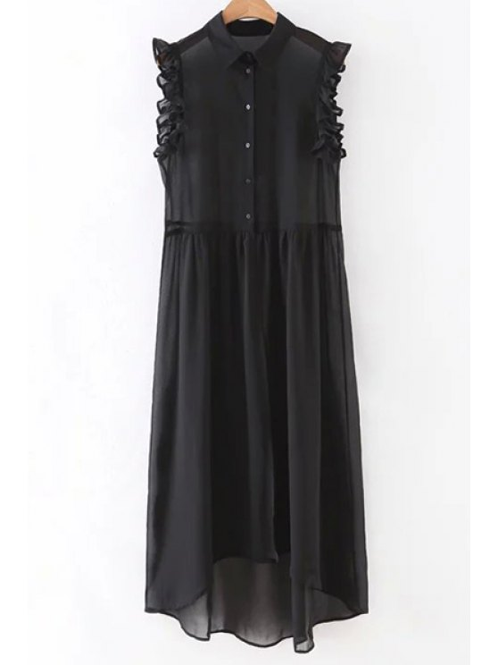 Black Sleeveless See-Through Shirt Dress - Black