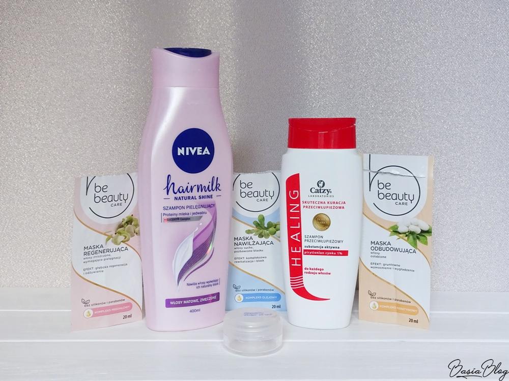 Be Beauty, maseczki do włosów (nawilżająca, regenerująca, odbudowująca), Catzy, szampon przeciwłupieżowy, Anwen, Mint it up szampon peelingujący, Nivea Hairmilk szampon pielęgnujący