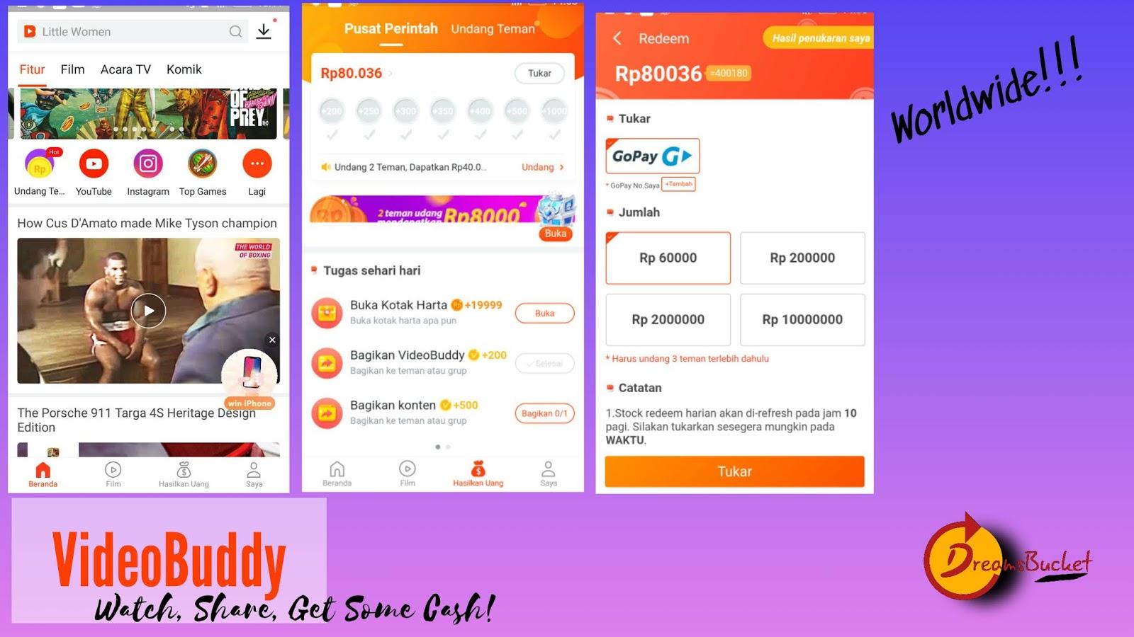 Review Aplikasi Website Penghasil Uang Legit Dreamsbucket
