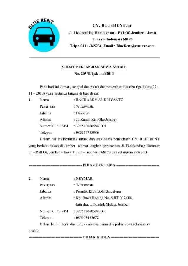 25 Contoh Surat Perjanjian Sewa Mobil Terlengkap Kumpulan Proposal Dan Surat Terlengkap