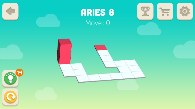 Bloxorz Aries Level 8 step by step 3 stars Walkthrough, Cheats, Solution for android, iphone, ipad and ipod