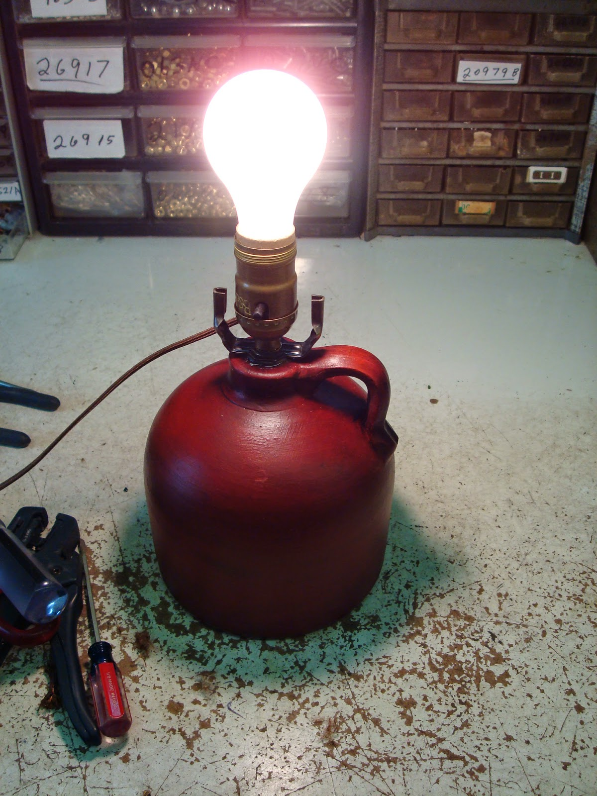 completed jug lamp project