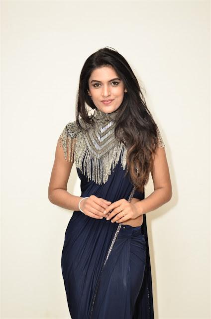 Ritu Biradar Hot Photo in Blue Saree