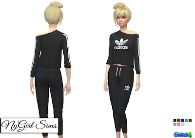 NyGirl Sims 4: Adidas Cropped Jogger Pant and Off Shoulder Sweater