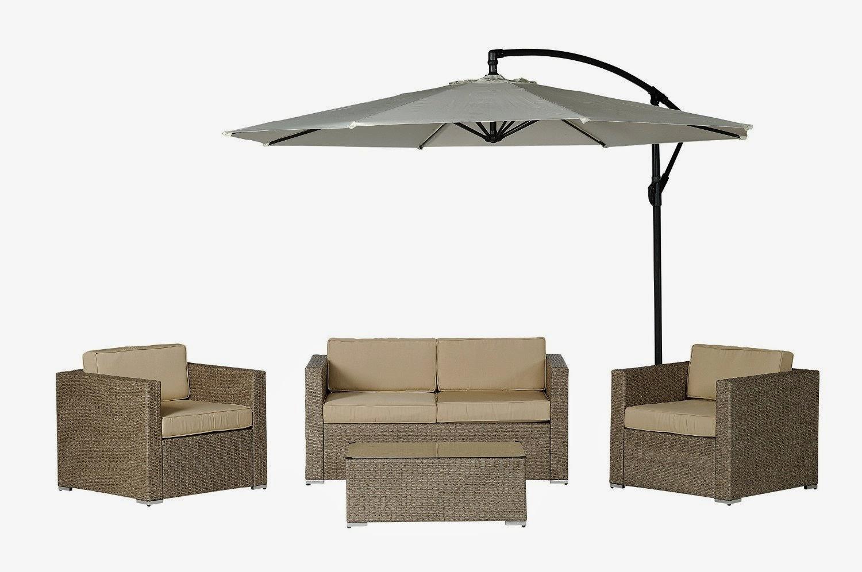 Description Patio Wicker Sofa Set (Free Cantilever Umbrella!)