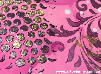 closeup photo of art journal page by Jenny James - golden hearts with pink and purple