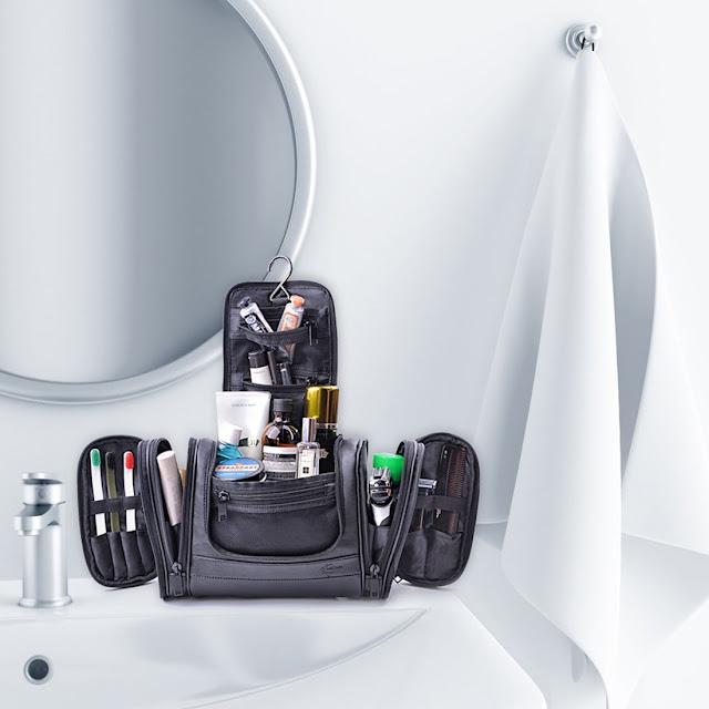 Trousse de Toilette Pliable PU Cuir à Suspendre Sac à Cosmétiques Sac Rangement de Voyage avec Compartiments Multiples Imperméable pour Famille Noir