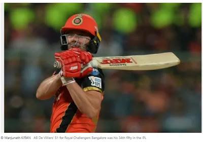 De Villiers scored 50 runs in the IPL as Bangalore Trump Hyderabad