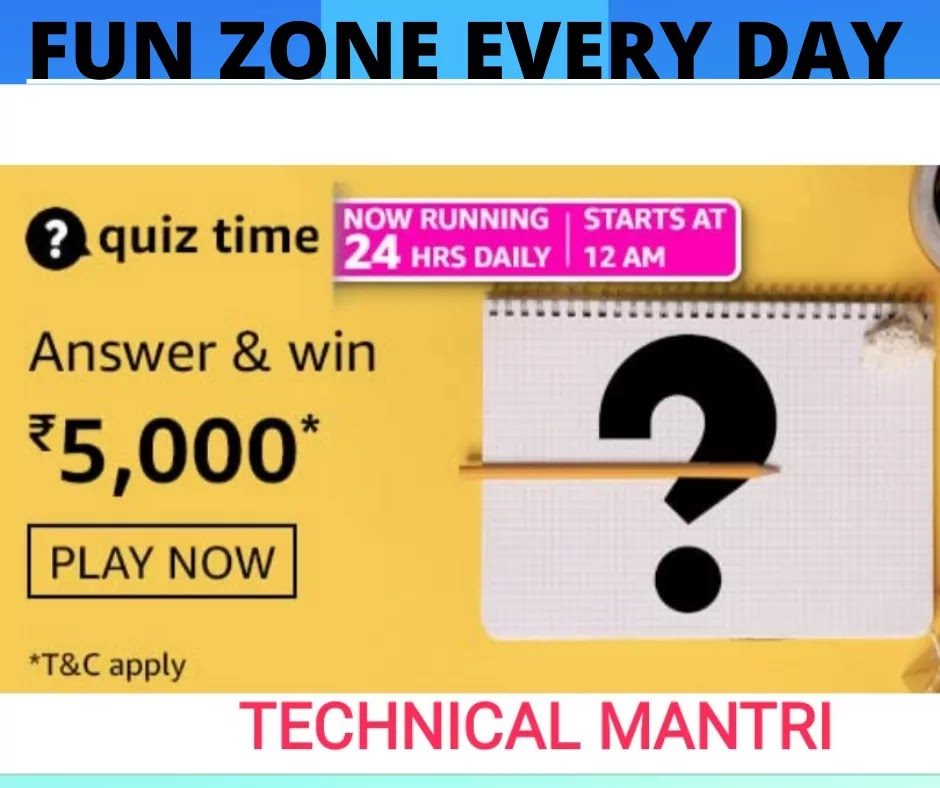 Amazon quiz answers today for 7th June 2021 Win 5000