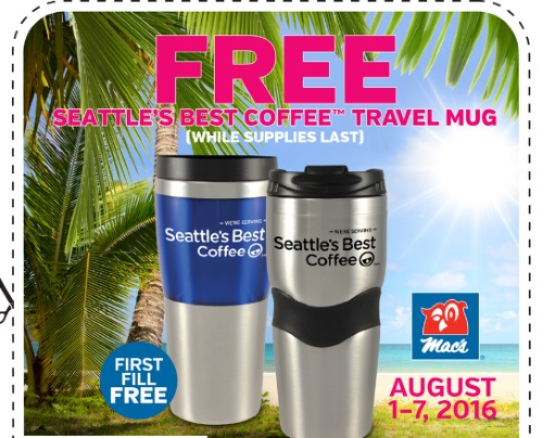 Mac's Free Seattle's Best Coffee Travel Mug Coupon