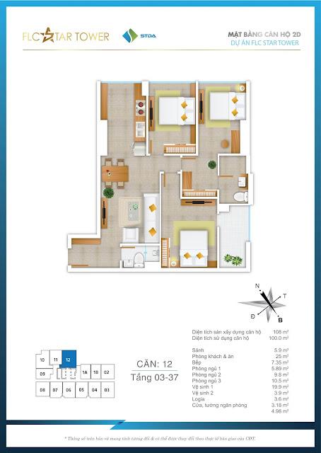 Thiết kế căn hộ 12 - FLC Star Tower