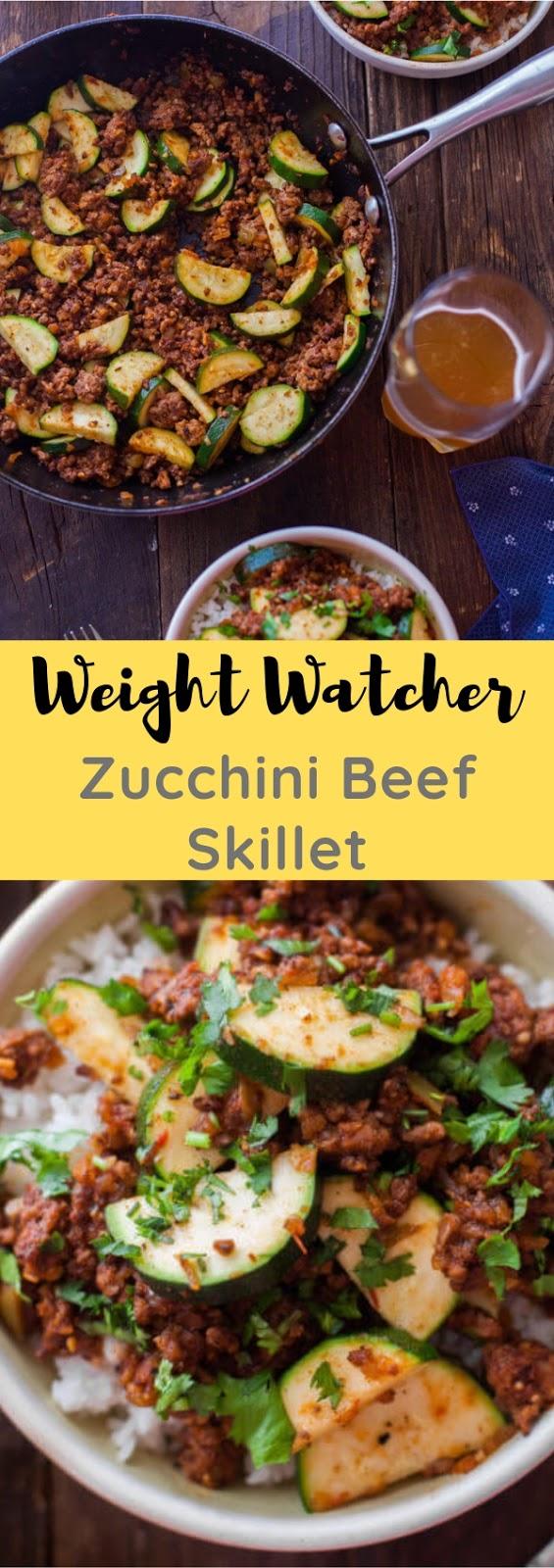Weight Watcher Zucchini Beef Skillet #lunch #maincourse #weightwacher #zucchini #beef #skillet