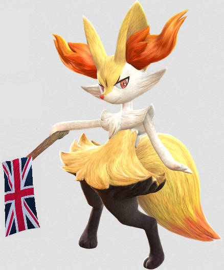 Brexit Braixen British exit fox mascot Pokémon United Kingdom flag