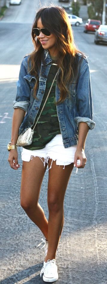 street style obsession: denim jacket + top + bag + shorts