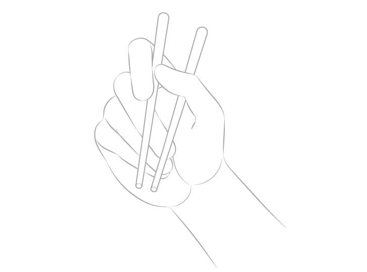 Gambar garis tangan memegang sumpit palm view