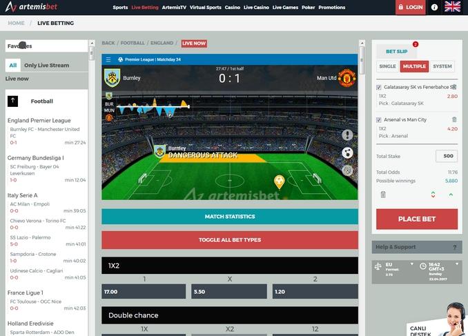 Artemisbet Live Betting Screen