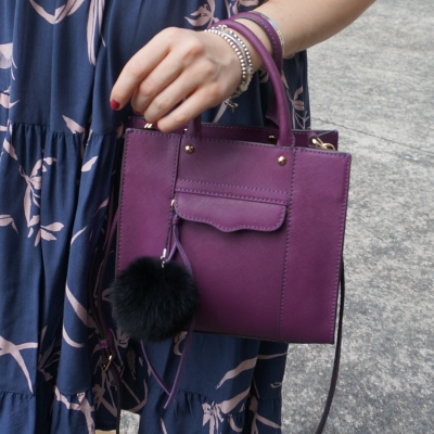 printed dress and purple rebecca minkoff mini MAB tote bag with faux fur pom pom charm | awayfromtheblue