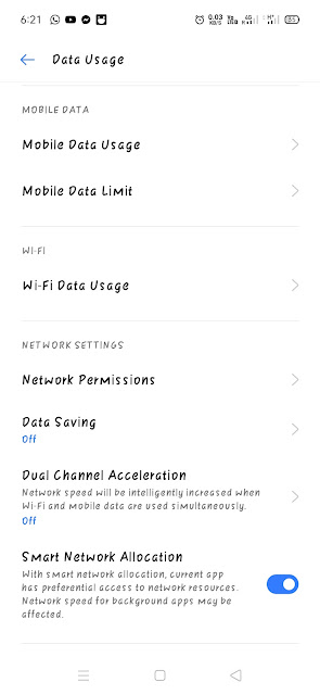Smart Network Allocation Menu