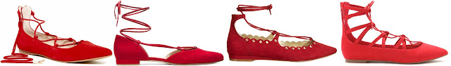 One of these pairs of red lace-up flats is from Stuart Weitzman for $398 and the other three are under $60. Can you guess which one is the designer pair? Click the links below to see if you are correct!