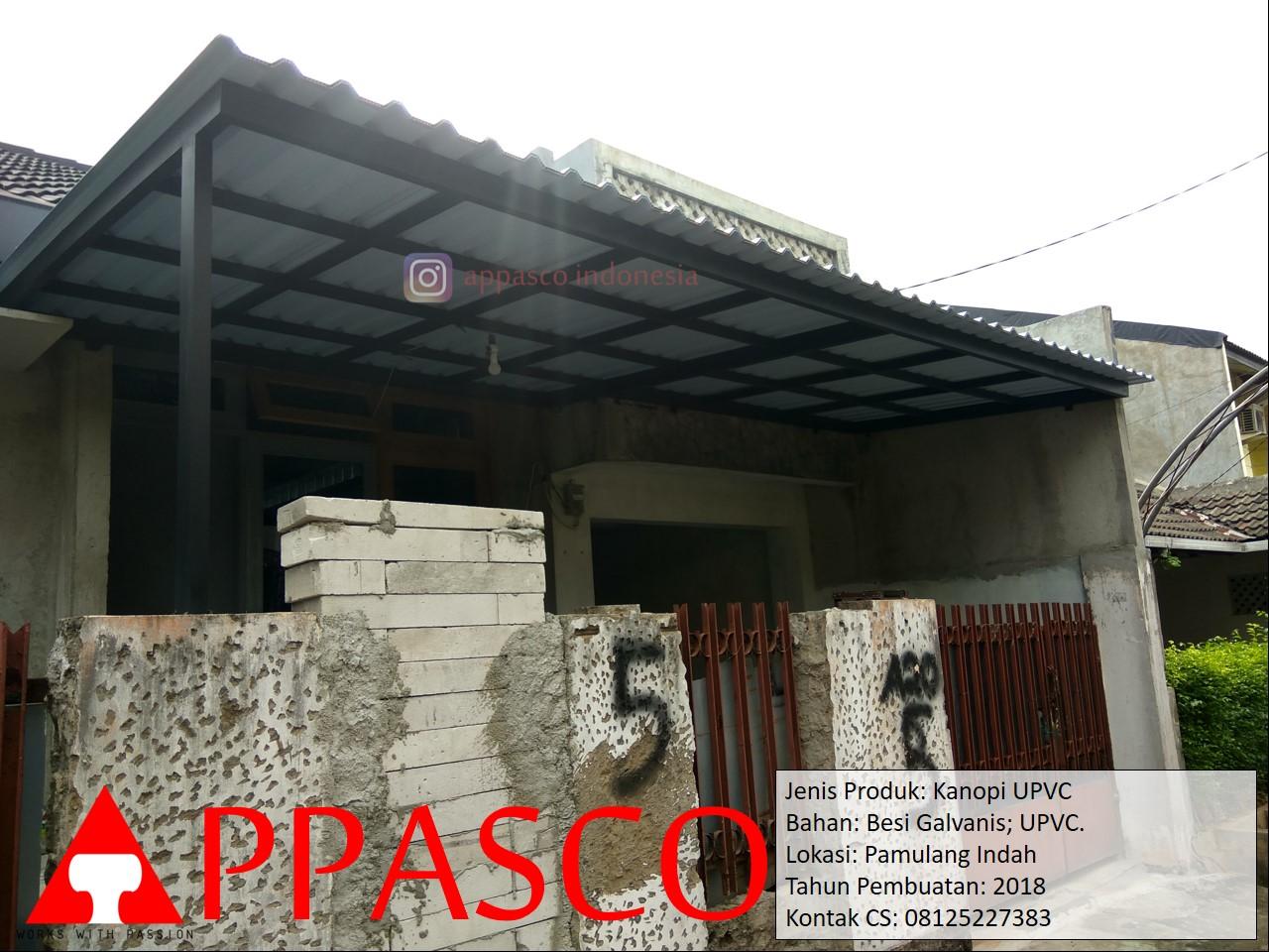 Kanopi UPVC Besi Galvanis Teras di Pamulang Indah