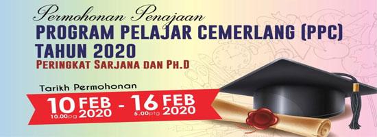 Biasiswa JPA Program Pelajar Cemerlang (PPC) Sarjana dan PhD Tahun 2020