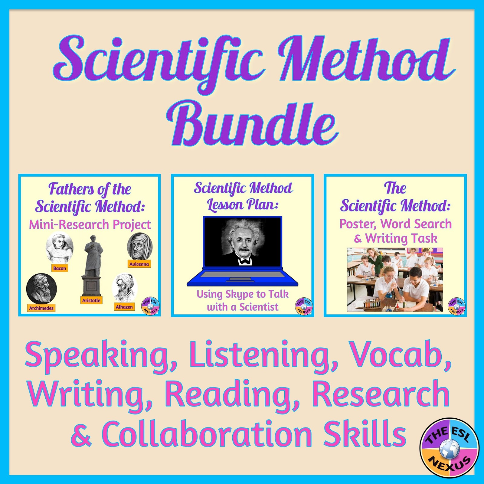 https://www.teacherspayteachers.com/Product/Scientific-Method-BUNDLE-with-Speaking-Listening-Reading-Writing-Activities-2008154
