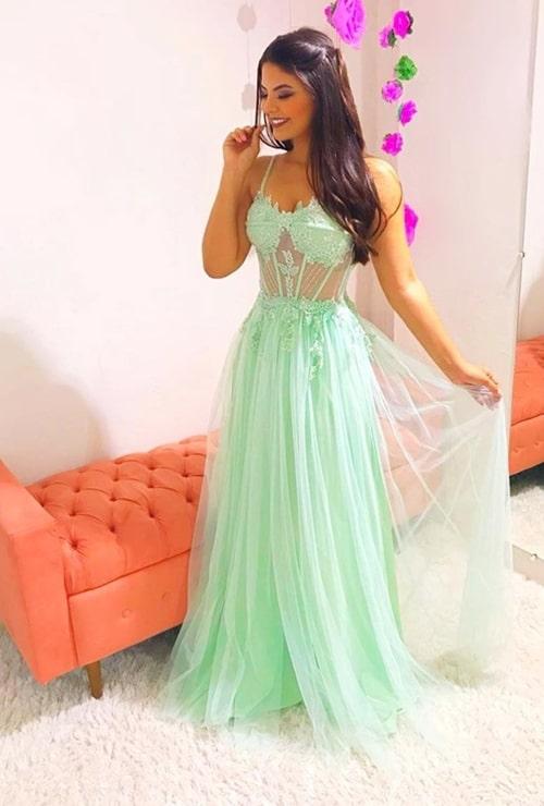 vestido de festa longo verde menta para madrinha