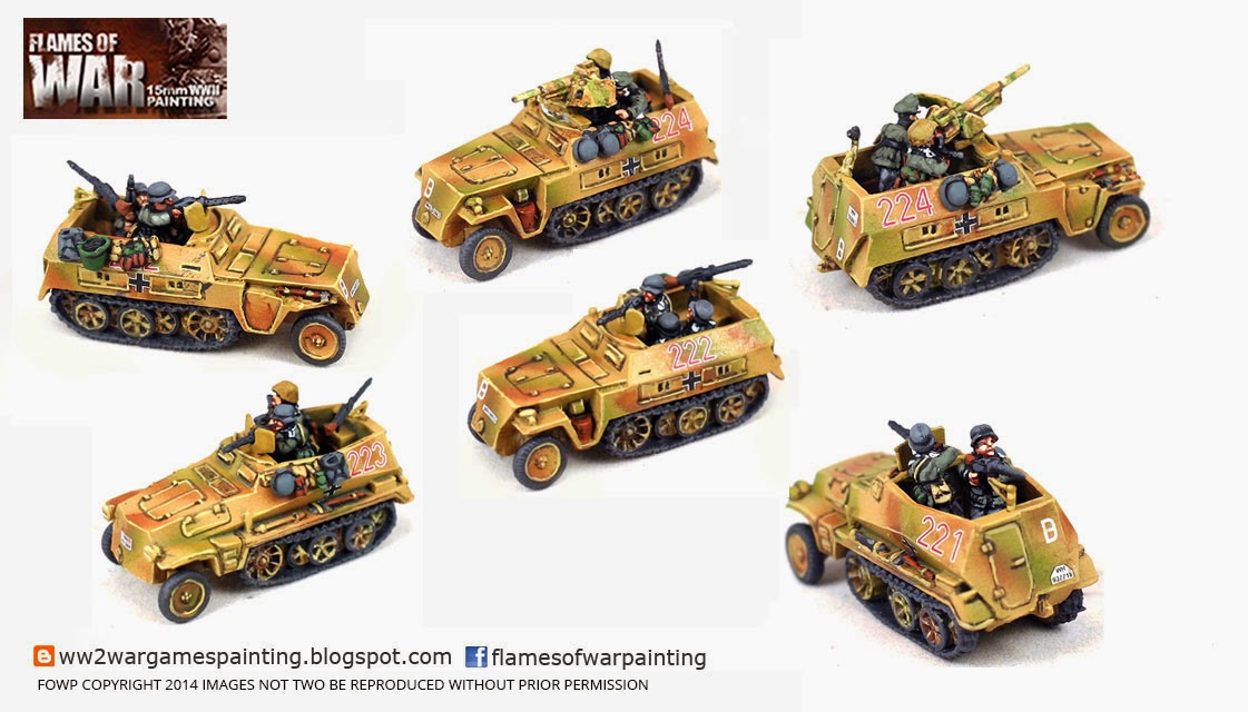 Flames of War 15mm Painted German half tracks with crews