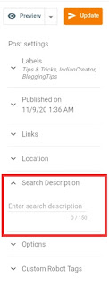 How to add meta description in Blog post - IndianCreator