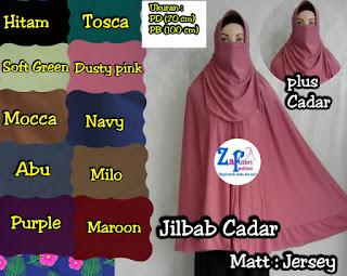 jilbab syar'i jumbo dengan cadar bahan jersey