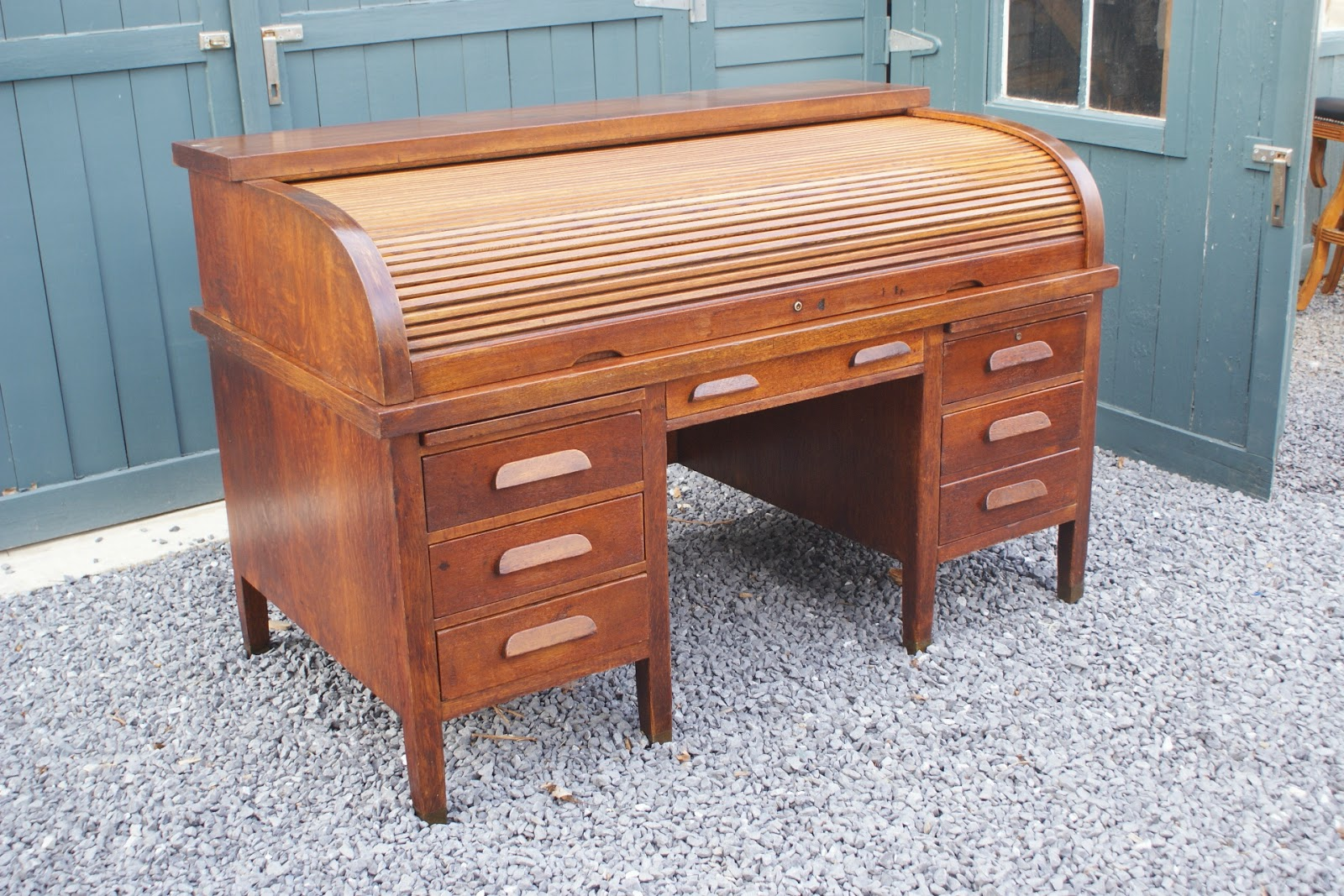 Lovely John Mark Power, Antiques Conservator: National Oak Roll Top Desk  VH54