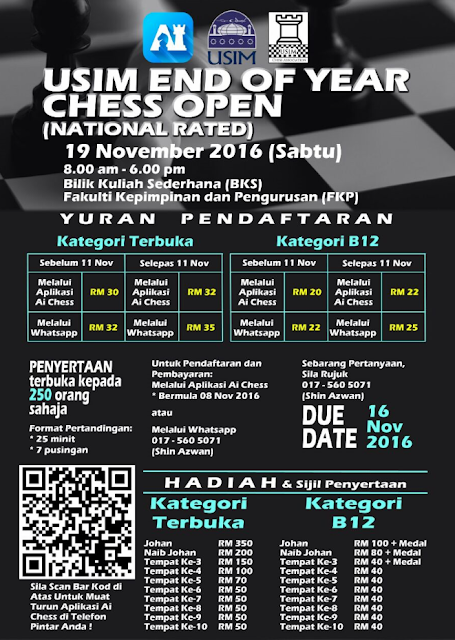 USIM END OF YEAR CHESS OPEN 2016 (National Rated)