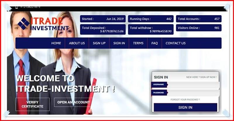 Мошеннический сайт itrade-investment.com – Отзывы, развод, платит или лохотрон? Мошенники