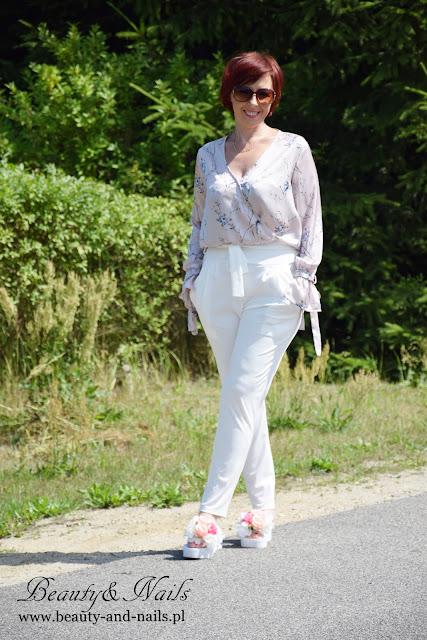 SAMMYDRESS - skinny pants/białe spodnie z wysokim stanem.