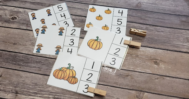 Free pumpkin counting clip cards make awesome counting practice and fine motor practice for preschool or kindergarten.