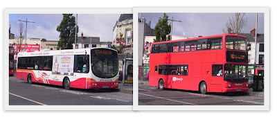 photo of Bus Eireann and City Direct double-decker city buses in Eyre Square, outside the Galway Advertiser offices