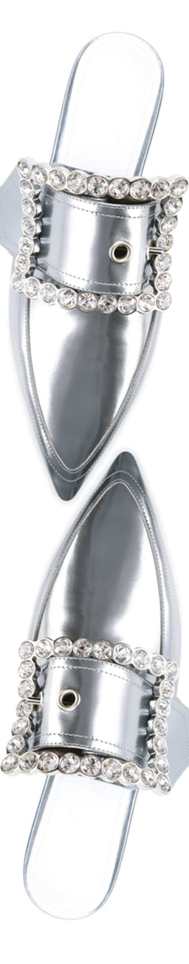 MAISON MARGIELA Crystal Buckle Mules in Silver