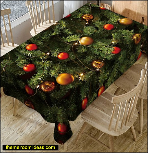 Christmas Tree Balls Print Fabric Waterproof Tablecloth  Merry Christmas  table Cloth