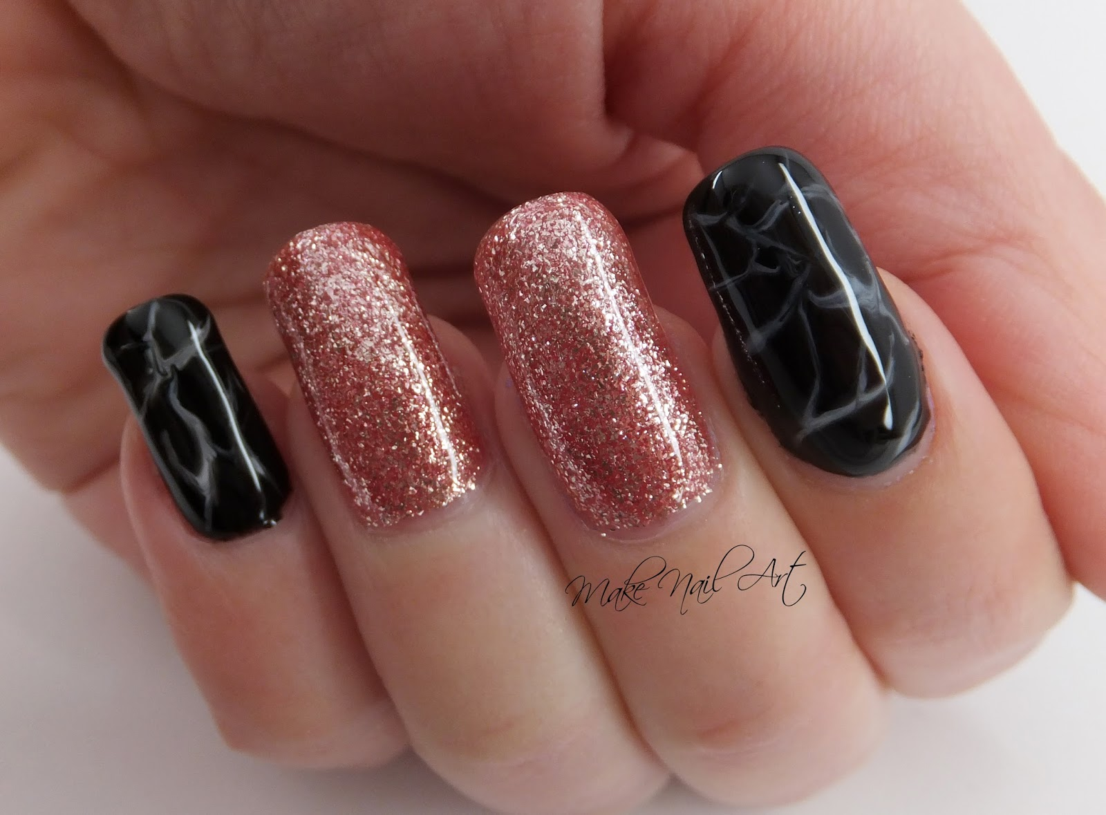 Make Nail Art: Rose Gold Glitter And Marble Gel Polish Nails Nail ...