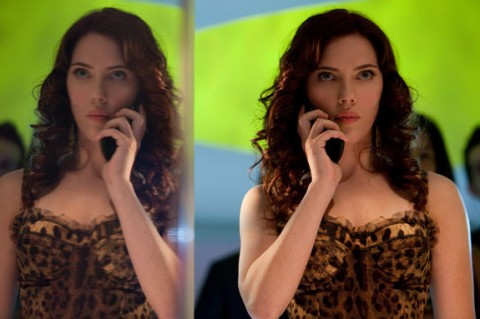 Scarlett Johansson as Natalie Rushman on the telephone in Iron Man 2 movieloversreviews.filminspector.com