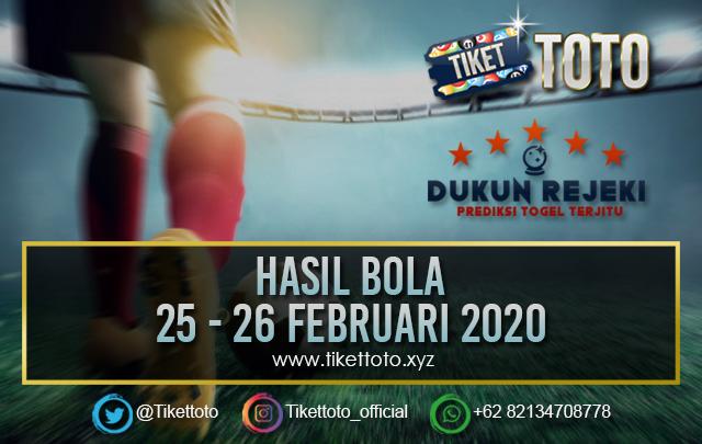 HASIL BOLA TANGGAL 25 – 26 FEBRUARI 2020