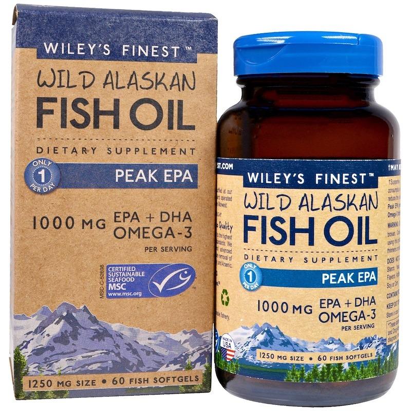 Wiley's Finest, Рыбий жир дикого аляскинского лосося, максимум ЭПК, 1250 мг, 60 мягких капсул из рыбного желатина